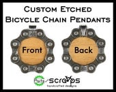 CUSTOM Laser Etched Wood Bicycle Chain Pendant, Keychain Fob, Key Ring, Personalize Custom Gift, Cyclist Jewelry BMX Biker, Recycled Bike