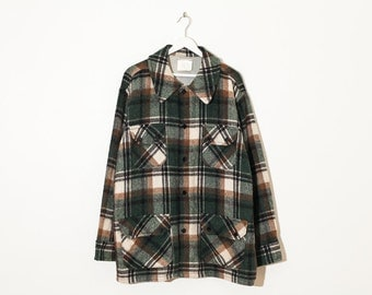 on sale - green & brown oversized tartan jacket / unisex plaid wool button-up coat / size XL / XXL