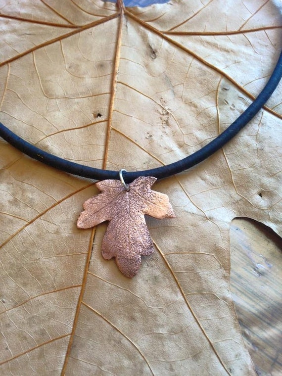 Copper leaf pendant on cork cord with silver clasp