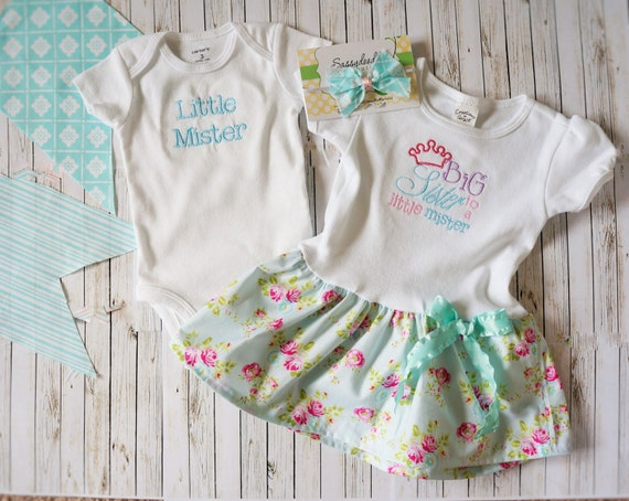 Big sister to a little mister t shirt dress, matchine baby onesie,   Cottage Chic fabric, with matching bow too.