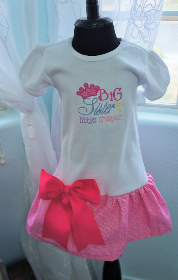 Big sister to a little mister t shirt dress,  big bow at the waist to finish the look.  Crown has a little sparkle.