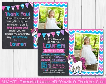 Enchanted Unicorn Birthday Invitation Or Thank You Card Any Age Digital Printable File