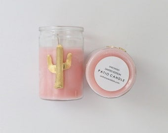 Gold Cactus Patio Candle, Limited Edition, Rosequartz Pink