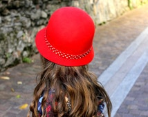 Red cloche hat for girls, girls easter hat, toddler winter hat, little girls hat, red girls hat, red winter hat kids