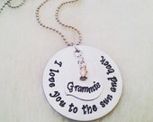 Custom I Love You to the Sun and Back Necklace or Keychain - Hand Stamped Gifts for Her