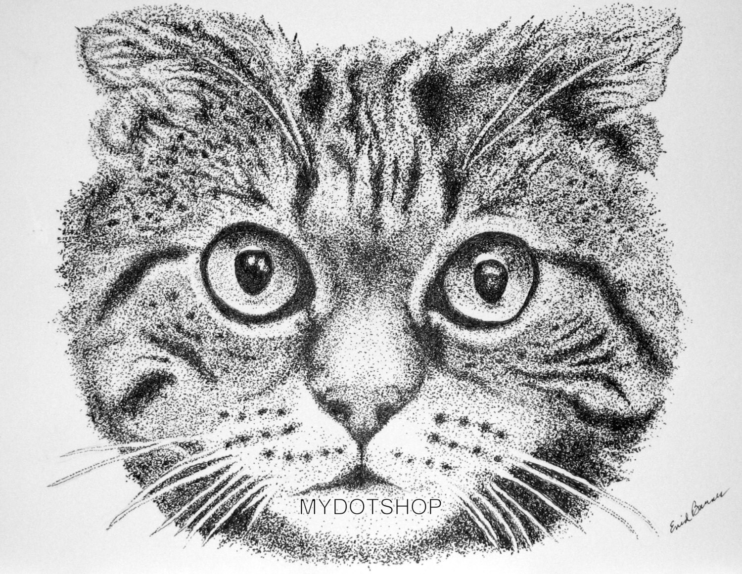 Original Cat Pointillism Pen And Ink Drawing