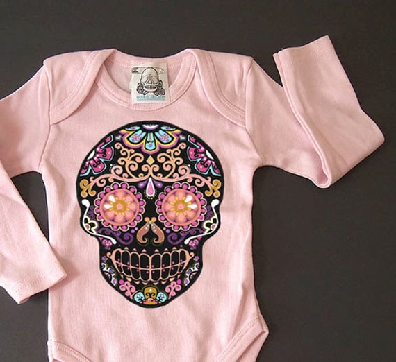 Long sleeve skull baby clothes day of the dead by bonesnelson