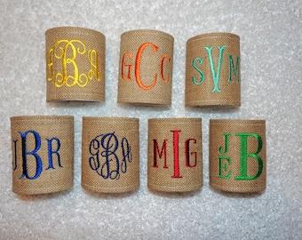 Burlap Can Coolers, Burlap Coolers, Monogrammed burlap can cooler, wedding coolers