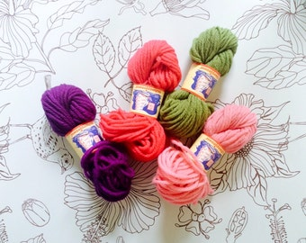 4 Colors Scheepjeswool Pure New Wool Yarn - Hot Pink, Purple, Pastel Pink, Olive Green