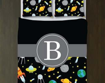 Personalized Outer Space Bedding Set-Duvet Cover-Shams-Daybed/Twin/Twin XL/Full/Queen/King Size-Bedding-Bedroom-Bed-Kids Room-Girl-Boy-Blue