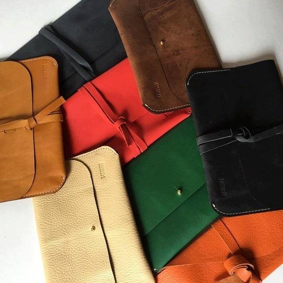 Coloured Leather Clutch, Red Clutch, Green Clutch, Orange Clutch, Brown Clutch