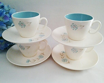 Vintage Taylor Smith & Taylor Boutonniere Cups And Saucers, 1950s Collectible Replacements/Add-ons/USA Made/Gift Idea/Floral/Feminine