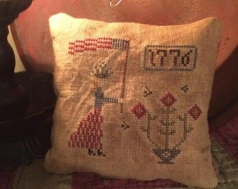 Primitive Patriotic Americana Lady Liberty Pillow Tuck Pin Keep