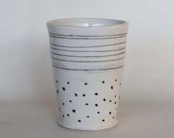Striped & Spotted Tumbler, ceramic Tumbler - Juice Cup, Yunomi - Handmade with Black and White Pattern