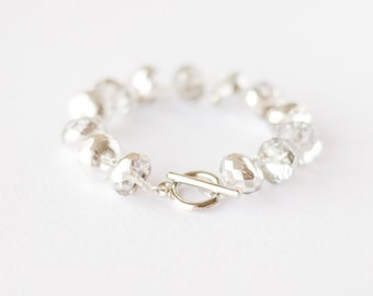 Silver and crystal bead bracelet