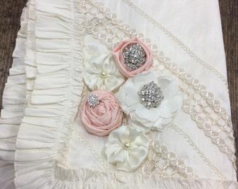 Baptism ruffle baby blanket ivory with blush flowers
