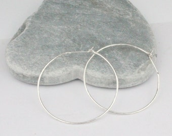 Silver Circle Wire Hoops