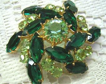 """Vintage """"Juliana Style"""" Green Brooch...Open Back...Emerald Navettes...Peridot Rhinestones... Swirled Brooch"""