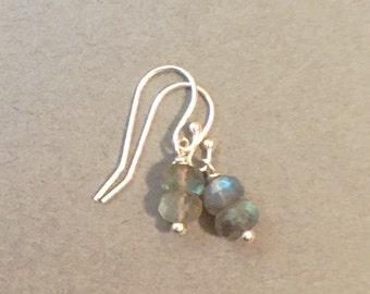 Dainty Earrings AAA Labradorite Gemstone Dangle Drop Earrings. Sterling Silver Semiprecious Earrings.  Hypoallergenic Earring