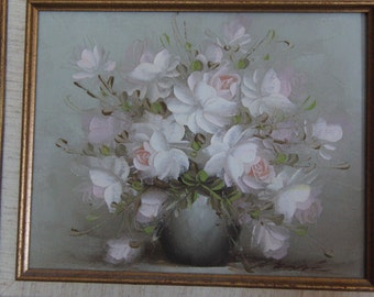 Vintage original oil on canvas painting of flowers signed by the artist