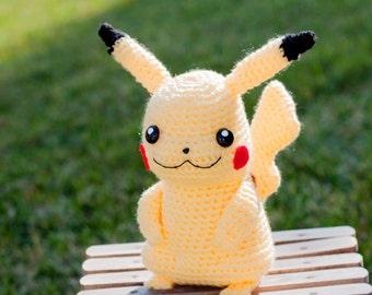 Close Amigurumi Ball : Pikachu ball Pokemon Poke Ball Amigurumi Crochet by YarrrnIt