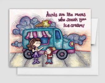 COOL AUNT CARD - Mom Greeting Card - Aunt Greeting Card