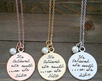 She Believed Handstamped Necklace