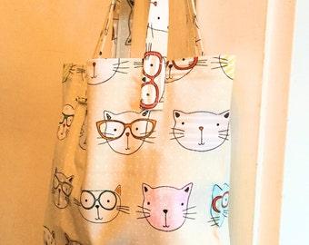 Tote bag, cat tote, handbag, shopping bag, carrier bag, fabric bag, canvas bag
