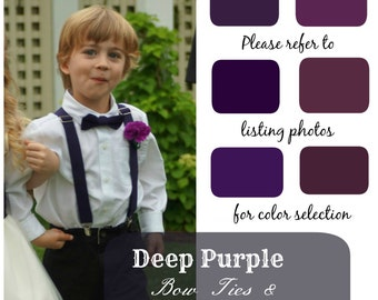 Dark Purple Bow Ties and Suspenders, Boys, Kids, Child, Ring Bearer Gift