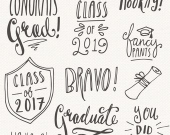 Graduation Photoshop Overlays // Clip Art Editable Vector EPS and PSD // College High School Student Class Of 2016 - // Digital Brush Stamp