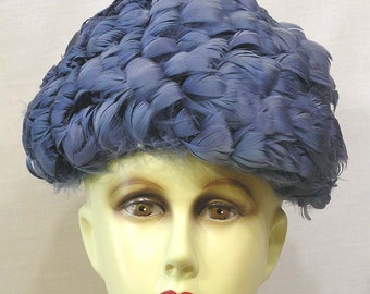 Vintage Woman's Hat A Dome of Swirled Blue Feathers Circa 1960s