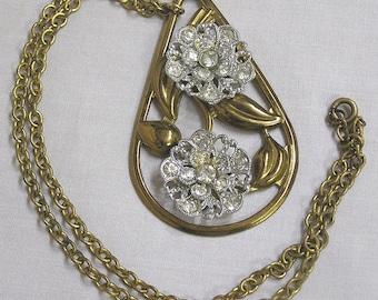 Vintage Pendant Necklace Art Nouveau Leaves Rhinestone Flowers Goldtone Chain