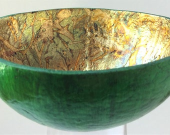 Gourd bowl for sale [FGC-B01] - green - gold leaf - gourd bowl - Fire & Gold Collection