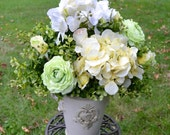 Hydrangea Silk Flower Arrangement, in Ivory Ceramic Vase, Roses, yellow, White and Green Flowers, Spring Flowers, Summer Flowers