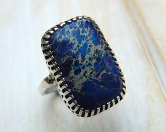 Impression Jasper Ring - Sterling Silver Ring - Jasper Jewellery - Blue Stone Ring - Gemstone Jewellery - US Size 8 - UK Size P.