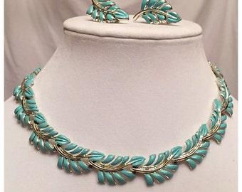 Vintage Coro demi Parure Set, Turquoise enamel Leaves Necklace, bracelet, clip-on earrings, Signed Coro Turquoise Blue Jewelry Set