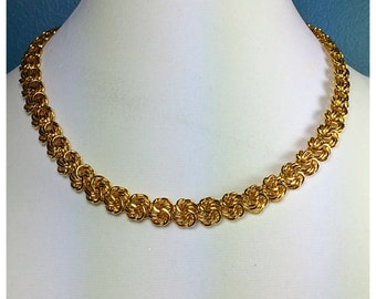 Napier Gold Chain Link Necklace, Bright Gold Vintage Napier Chain Necklace