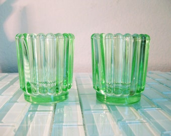 Emerald Green Glass Votive Candle Holders Tea Lights - 2 included