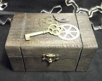 Steampunk style Dark Walnut Wood Box with gears and key