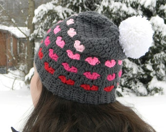 Valentine Hearts Crochet Slouchy Hat with Pompom