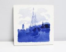 Vintage Ceramic Tile / Trivet, kitchen Tile, fireplace handpainted, delft blue Dutch Holland boat harbor landscape Height 6 in / 15.2 cm