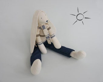 Rabbit Soft Sculpture Boy Doll Fabric Long Eared Bunny Dressed in Blue Ticking Pattern and Jeans in Presentation Calico Gift Bag UK Maker