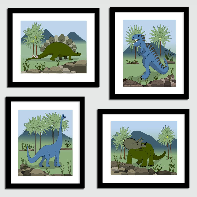 kids dinosaur art canvas dinosaur wall decor 4 canvas. Black Bedroom Furniture Sets. Home Design Ideas