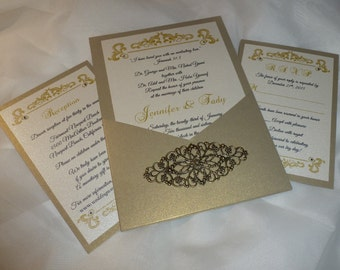 "Victorian Gold Wedding Invitation ( sample ) - "" Antique Gold """