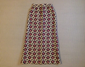 1960's, maxi skirt, in navy, sparkly silver, and maroon, by Nelly de Grab, Women's size Small/Medium