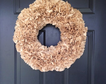 Brown coffee filter wreath