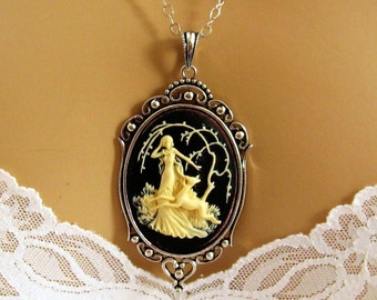 Black Cameo, Diana The Huntress Black Cameo Necklace, Victorian, Antiqued Silver, Expectant Mom Gift, Roman Mythology Jewelry