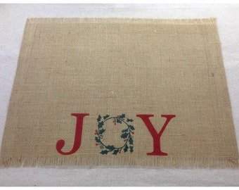 Burlap Placemats - set of 4, 6, or 8 with Joy and a wreath design - Christmas placemats Christmas decorating Holiday decor