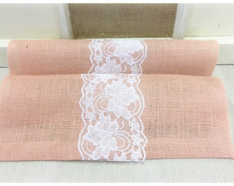 """Peach Blush Burlap & Lace Table Runner  12"""", 14"""", or 15"""" wide with White or Ivory Lace - Wedding runner Home decorating"""