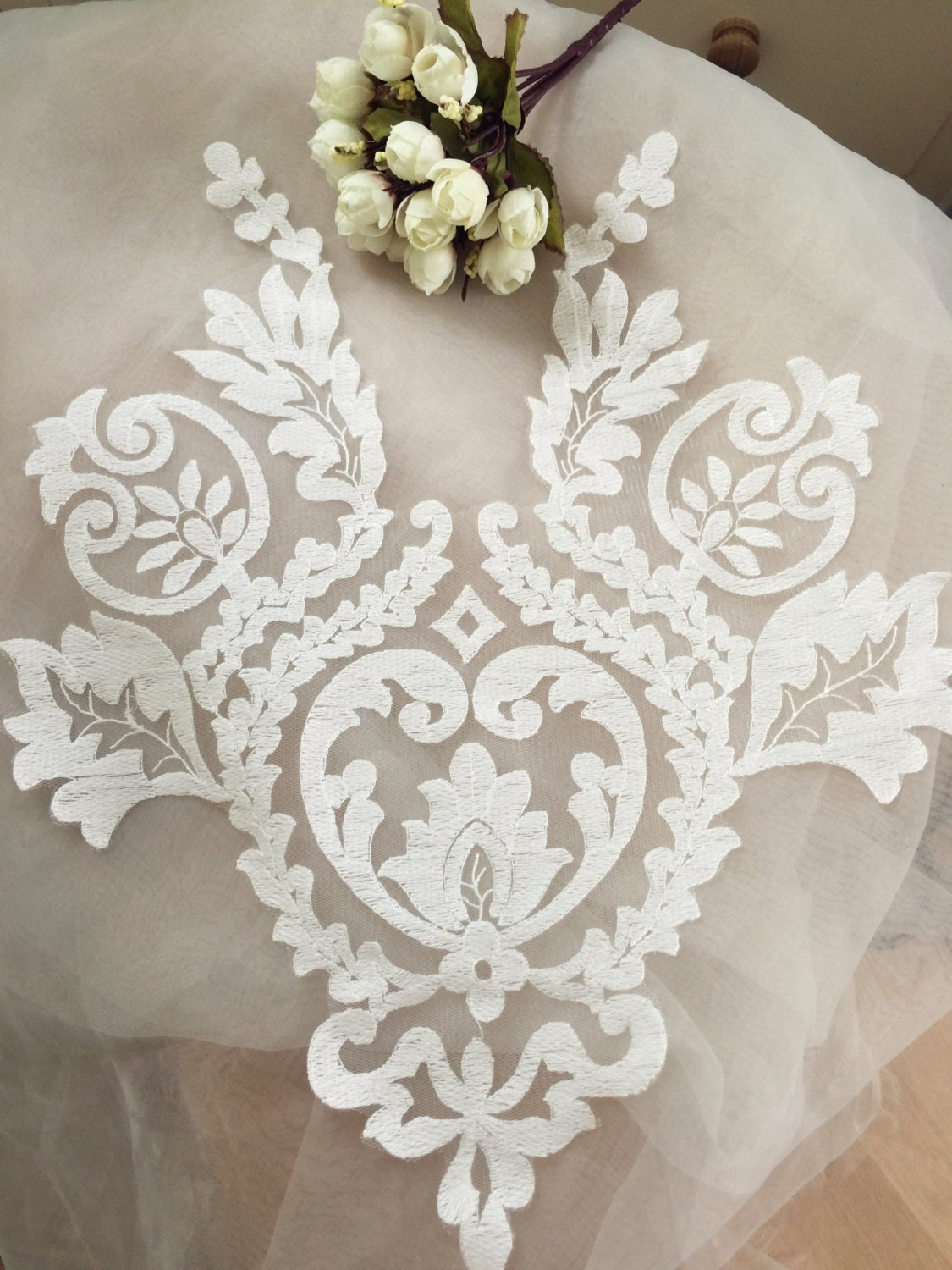 Graceful Ivory Wedding Lace Applique Bridal Lace Applique For